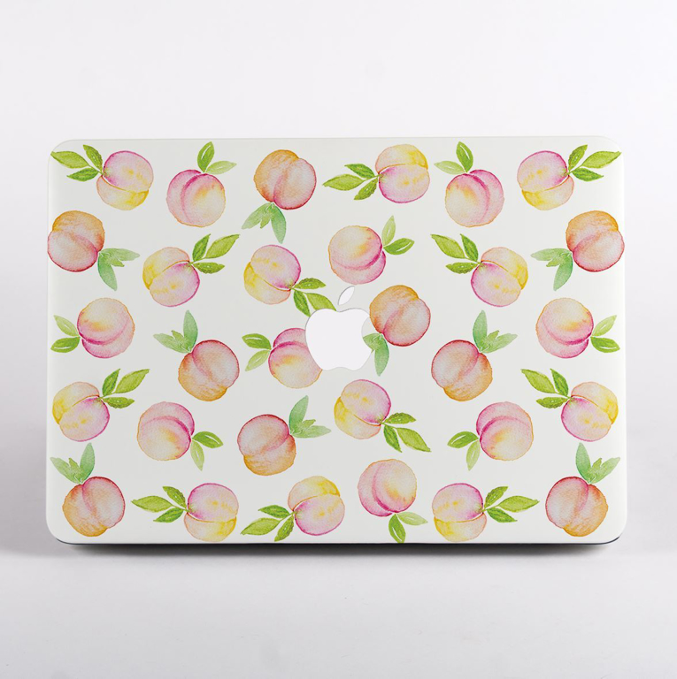 Peaches Pattern MacBook Case Front  | Available at Dessi-Designs.com