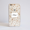 Clear Floral White Lace iPhone Bumper Phone Case Front | Available at Dessi-Designs.com