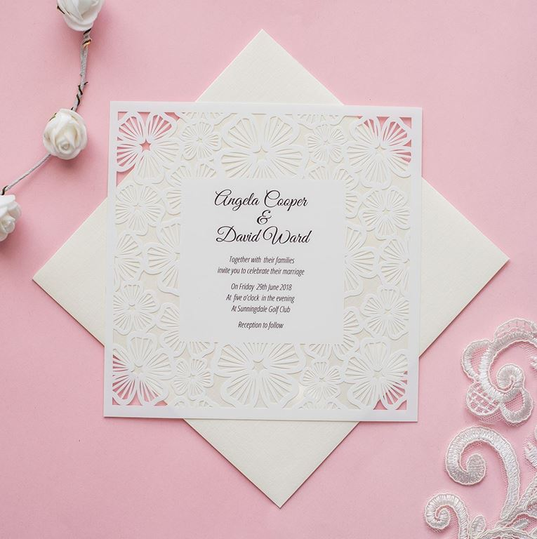 Floral Lace wedding invite
