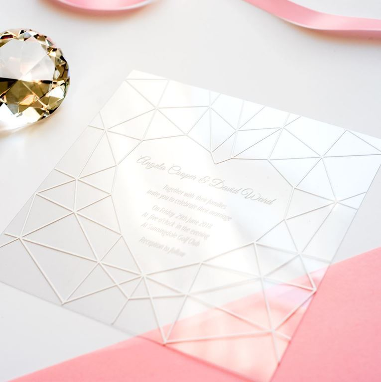 heart Diamond wedding stationery