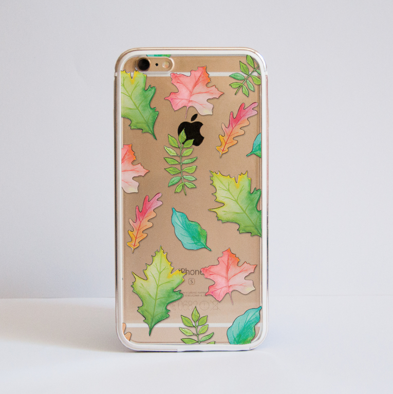 Fall Leaves Clear iPhone Bumper Phone Case Front | Available at Dessi-Designs.com