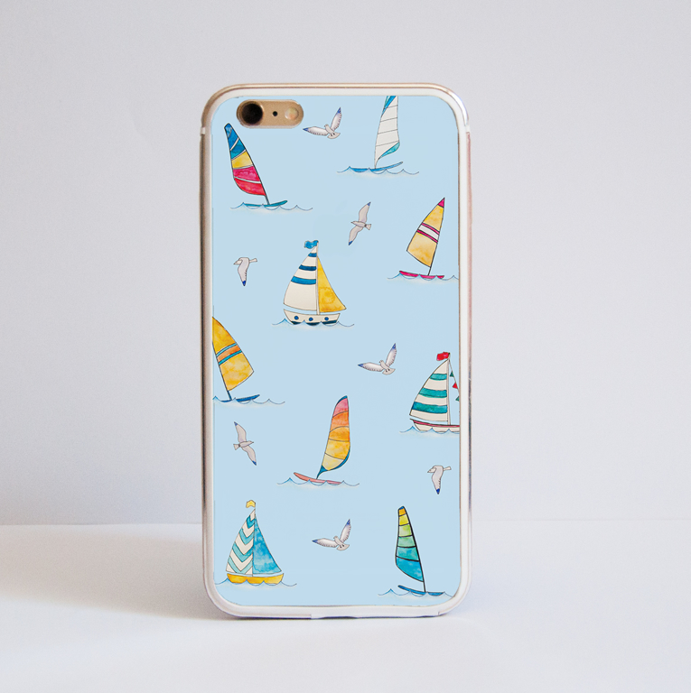 Blue Boats Bumper iPhone Case Front | Available at Dessi-Designs.com