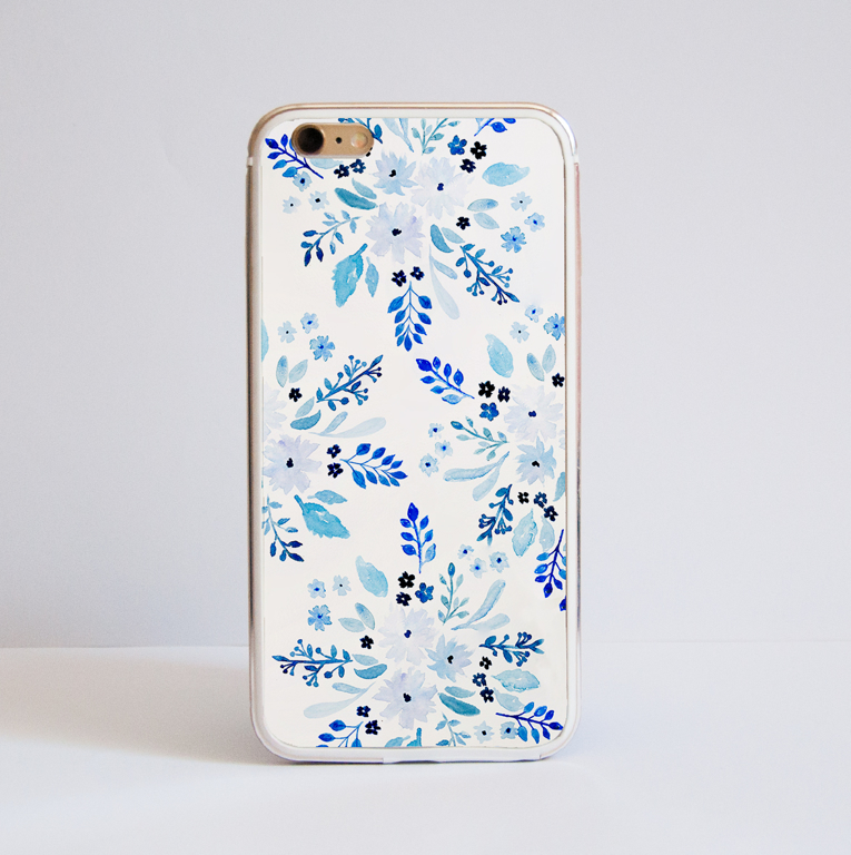 Blue Florals Bumper iPhone Case Front | Available at Dessi-Designs.com