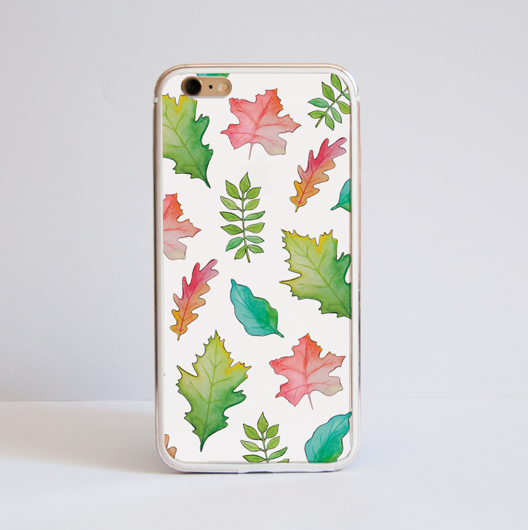 White Fall Leaves iPhone Bumper Phone Case Front | Available at Dessi-Designs.com