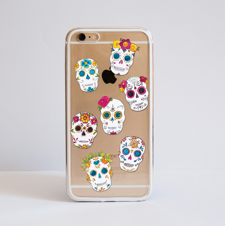 Clear Sugar Skulls iPhone Bumper Phone Case Front | Available at Dessi-Designs.com