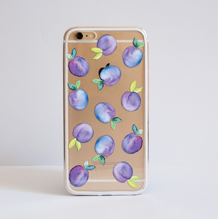 Clear Plum Bumper Phone Case Front | Available at Dessi-Designs.com