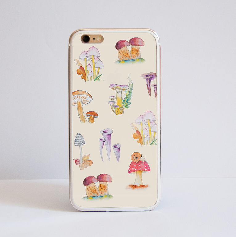 Mushrooms iPhone Bumper Phone Case Front | Available at Dessi-Designs.com