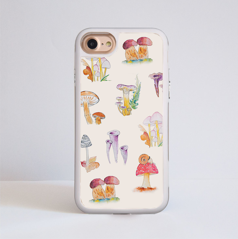 Mushrooms iPhone Impact Phone Case White | Available at Dessi-Designs.com
