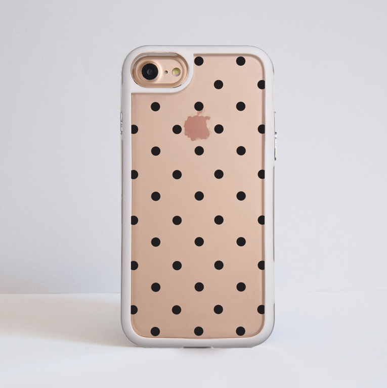 Clear Polka Dots iPhone Bumper Phone Case White | Available at Dessi-Designs.com