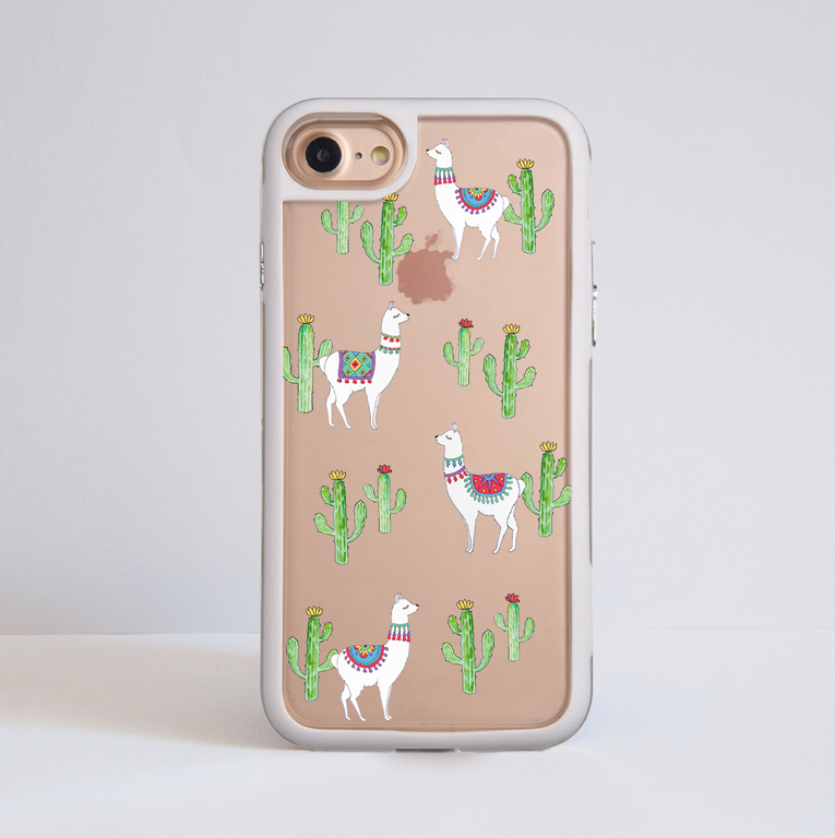 Clear Llama iPhone Bumper Phone Case White | Available at Dessi-Designs.com