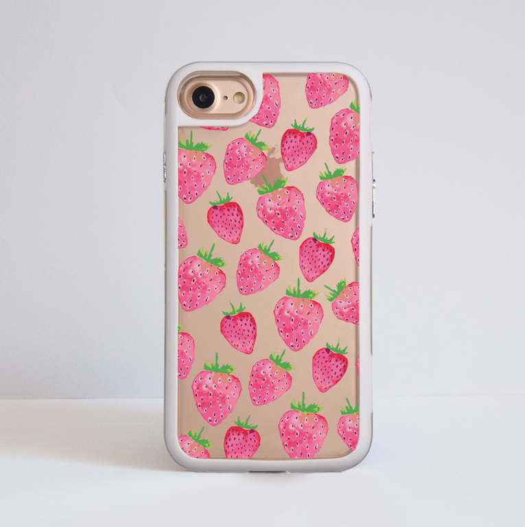 Clear Strawberries Impact Phone Case Front | Available at Dessi-Designs.com