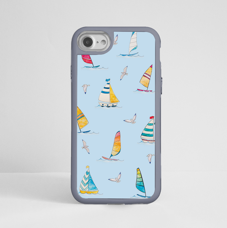 Blue Boats Impact iPhone Case Front | Available at Dessi-Designs.com