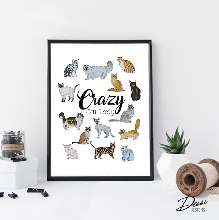 Crazy Cat Lady - wall print
