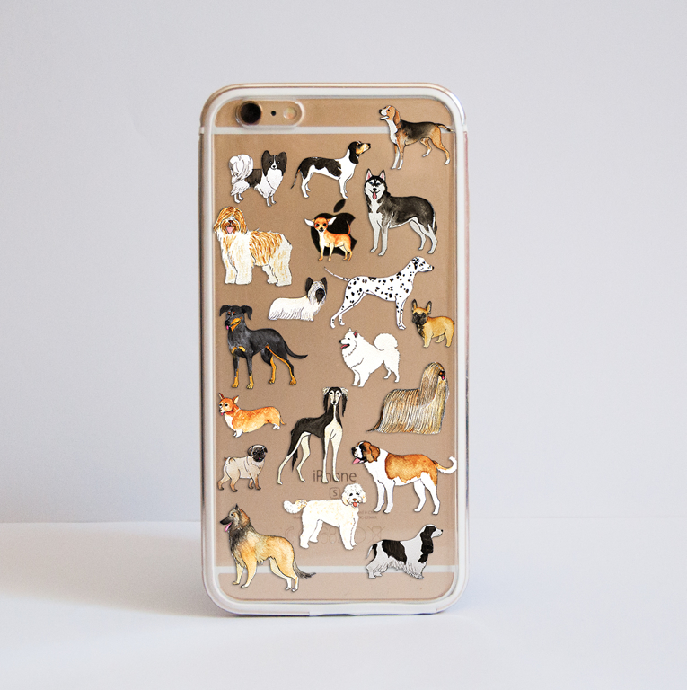 Clear Dogs iPhone Bumper Case Front | Available at Dessi Designs