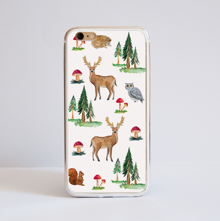 White Forest Bumper Phone Case Front | Available at Dessi-Designs.com
