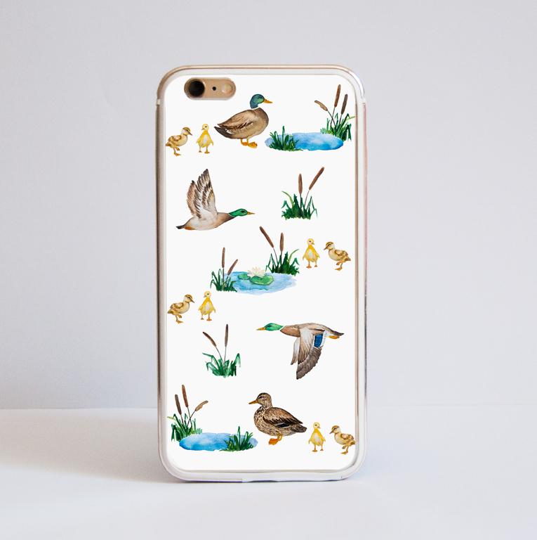 White Ducks iPhone Bumper Phone Case Front  | Available at Dessi-Designs.com
