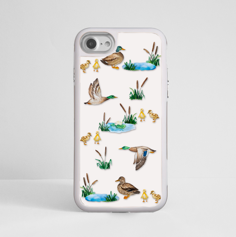 White Ducks White iPhone Impact Resistant Phone Case Front | Available at Dessi-Designs.com