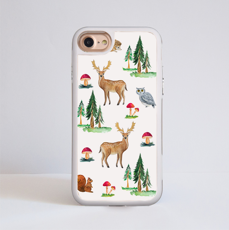 White Forest iPhone Impact Phone Case White | Available at Dessi-Designs.com