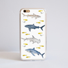 Sharks Bumper Phone Case Front view. Available at www.Dessi-designs.com