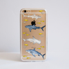 Sharks Clear Bumper Case Front View. Available at www.dessi-designs.com
