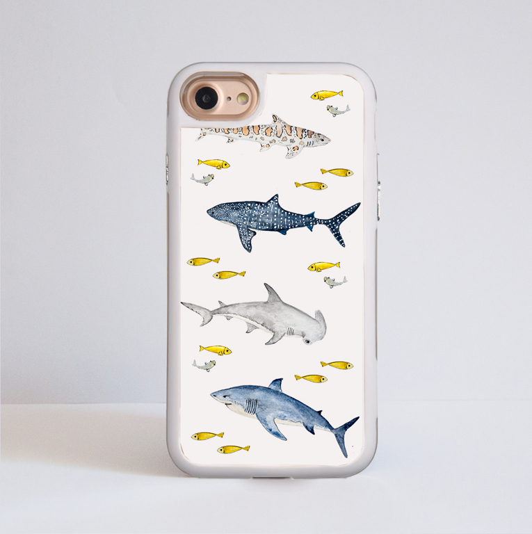 Sharks Impact iPhone Case. White Frame. Available at www.dessi-designs.com
