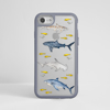 Sharks Clear Impact Case. Grey Frame. Available at www.dessi-designs.com