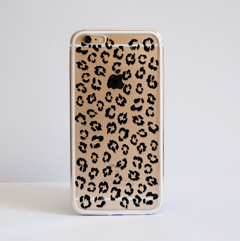Leopard Print iPhone 6s Plus Bumper Case Gold Frame - Available at Dessi-Designs.com
