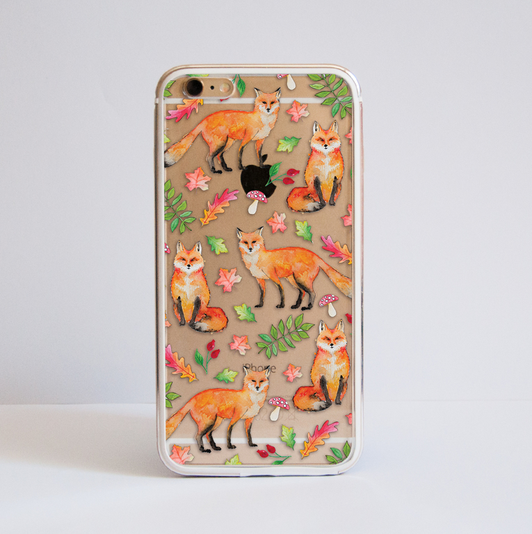 Foxes Clear Bumper Phone Case iPhone Gold | Available at Dessi-Designs.com