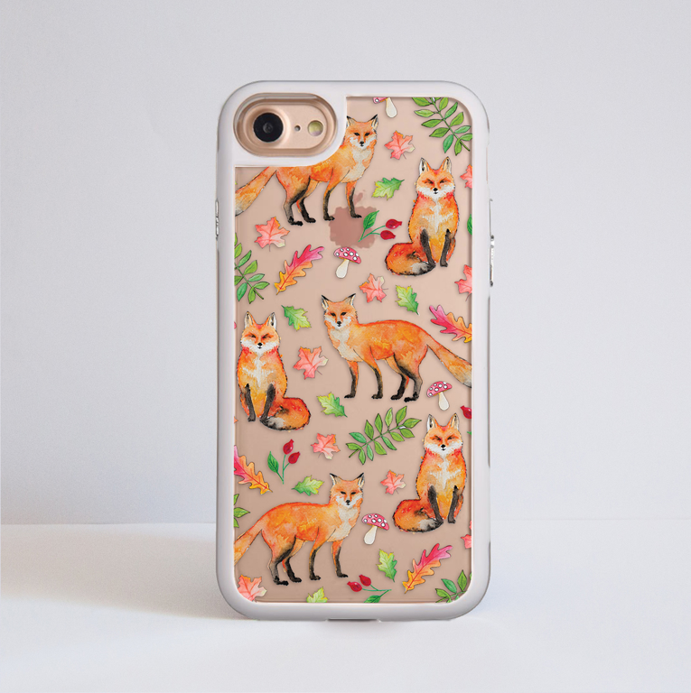 Foxes Clear Impact Phone Case White Frame | Dessi Designs