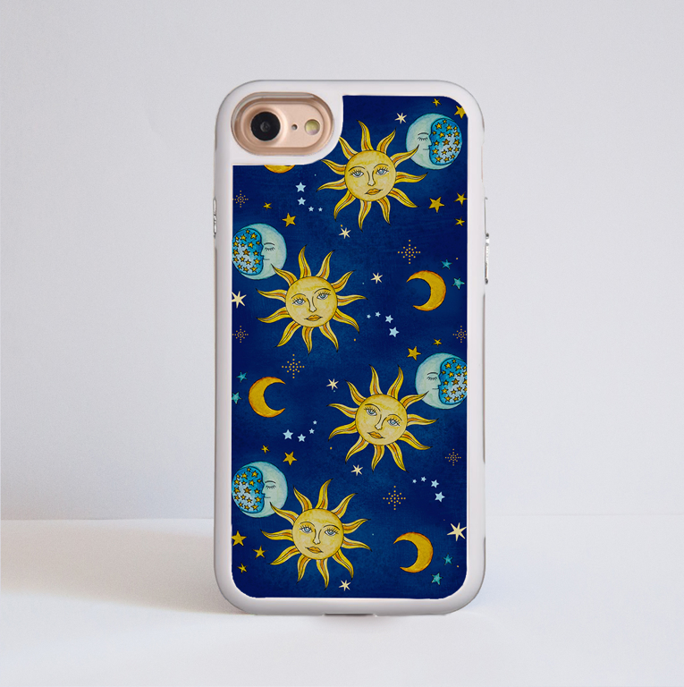 Vintage Celestial Impact Phone Case White Frame | Available at www.Dessi Designs.com
