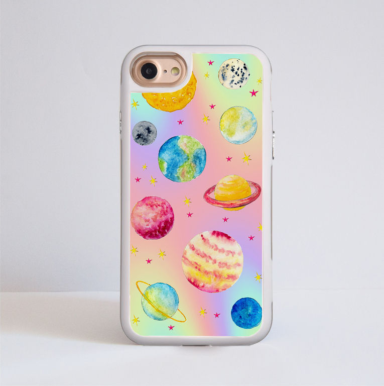 Magical Cosmos Impact Resistant Phone Case White Frame | Available at www.dessi-designs.com