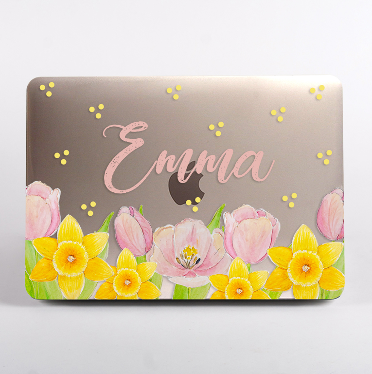 Spring Florals Clear MacBook Case Front | Available at Dessi-Designs.com