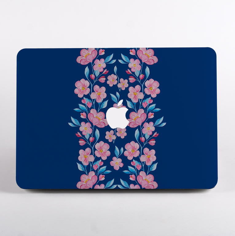 Blossoms in Pink and Blue MacBook Case Front | Available at Dessi-Designs.com