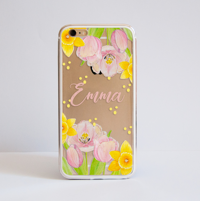 Spring Flowers Clear Bumper Case Front | Available at Dessi-Designs.com
