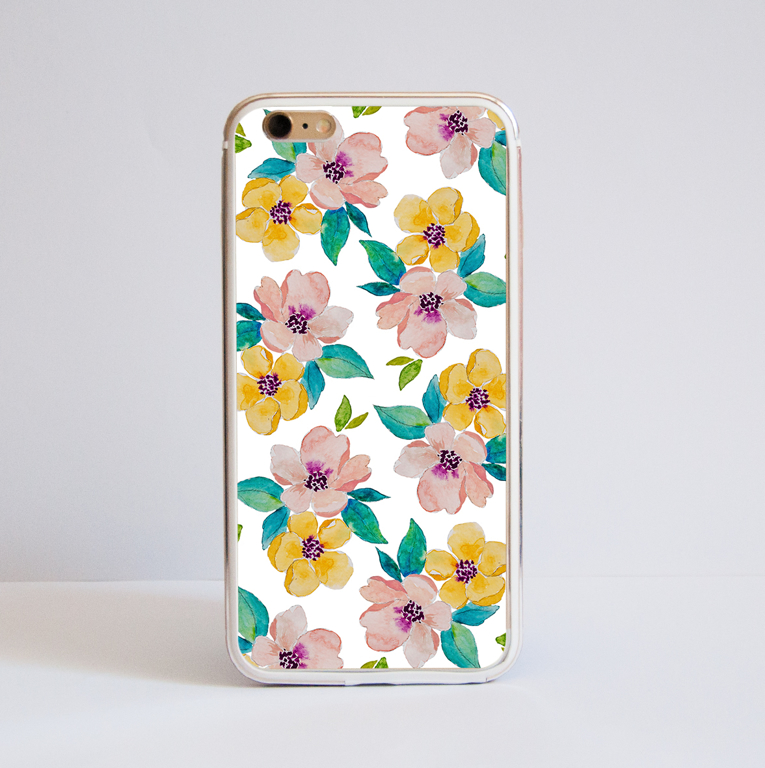 Watercolour Blossoms Bumper Phone Front| Available at Dessi-Designs.com