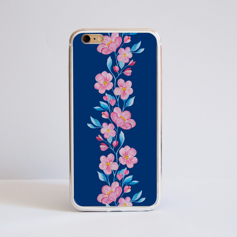 Blossoms in Pink and Blue iPhone 8 Case | Available at www.dessi-designs.com