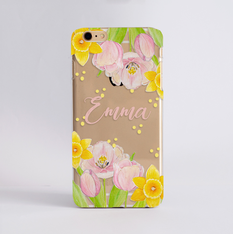 Spring Flowers Personalised Phone Case | Available at www.dessi-designs.com