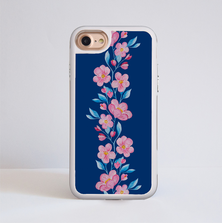Blossoms in Pink and Blue Impact Phone Case White - www.dessi-designs.com