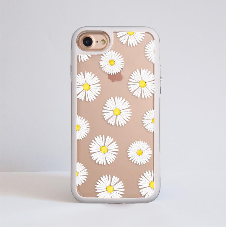 Clear Daisy Impact Phone Case White - www.dessi-designs.com