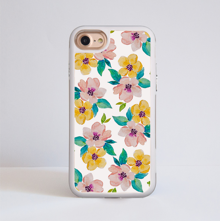 Watercolour Floral Blossom Impact Phone Case White - www.dessi-designs.com