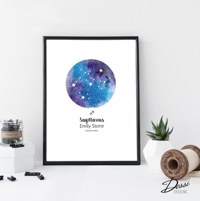 Astrological Zodiac sign wall print | available at www.Dessi-designs.com