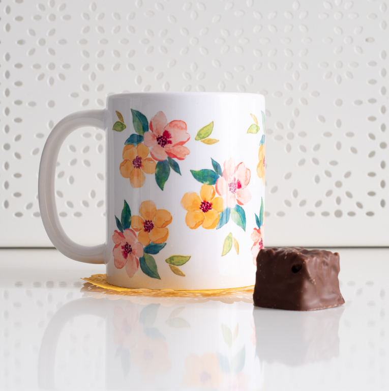 Watercolour Blossoms Coffee Mug - www.Dessi-Designs.com