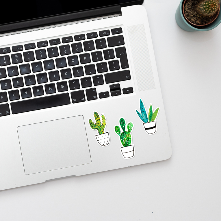 Cactus Laptop Vinyl Stickers | Available at www.dessi-designs.com