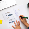 Sharks Notebook Stickers | Available at www.dessi-designs.com