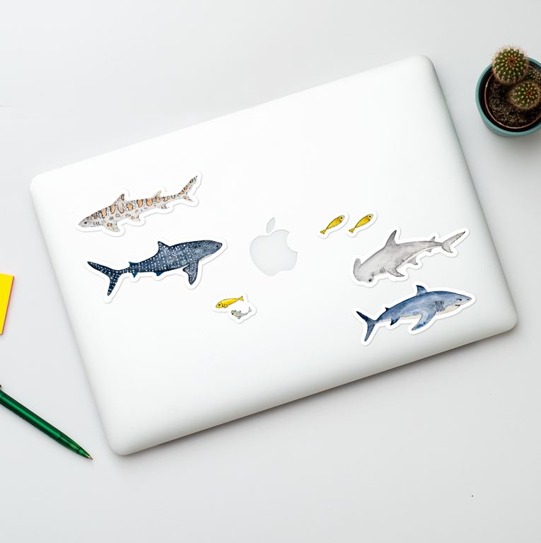 Sharks vinyl Laptop stickers | Available at www.dessi-designs.com