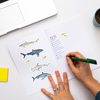 Sharks vinyl notebook stickers | Available at www.dessi-designs.com
