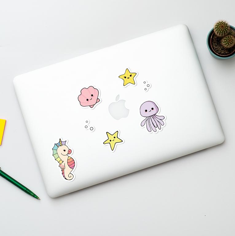 Cute Sea Vinyl Stickers | Available at www.dessi-designs.com