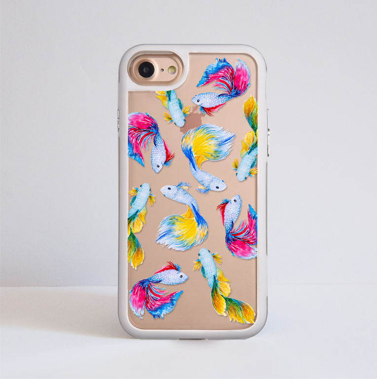 Rainbow Fish Clear Impact Phone Case Front | Available at Dessi-Designs.com