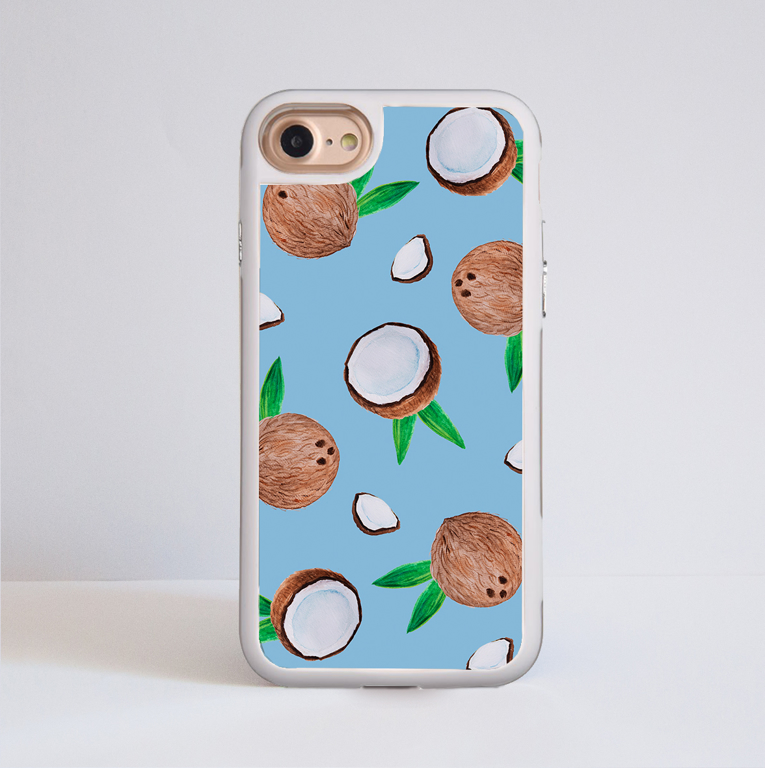 Coconut Impact Phone Case White Frame | Available at ww.dessi-designs.com