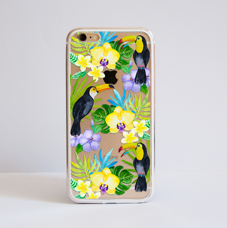 Toucan Birds Clear Bumper Phone Case | Available at www.dessi-designs.com